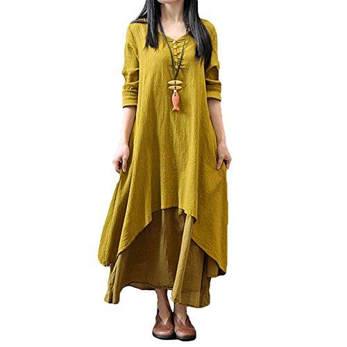 Romacci Women Boho Dress Casual Irregular Maxi Dresses Vintage Loose Long Sleeve Cotton Linen Dress,S-5XL