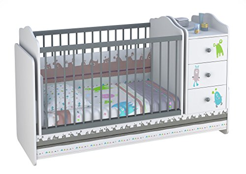 Polini Kids mitwachsendes Kombi-Kinderbett Basic mit Kommode weiß-grau, 11852