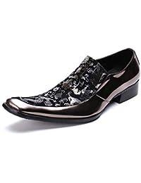SHIXRAN Hombres Casual Inglaterra Zapatos de Vestir Cuero Oxford Zapatos de Boda Impresión Personalizada Zapatos de Novedad (Color : Rojo, tamaño : 39 EU)