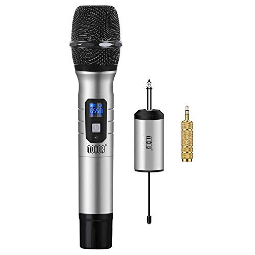 TONOR Microfono Wireless Micro senza Fili a 25 Canali UHF con Mini Ricevitore Portatile con 1/4' Output, Per Chiesa/Casa/Karaoke/Riunioni, Argento