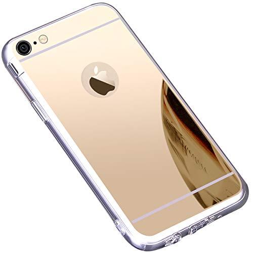 Coque iPhone 6S,Coque iPhone 6,Miroir Housse Coque Silicone TPU pour iPhone 6 6S,Surakey Bling Briller Diamond Coque Effet Miroir Etui TPU Téléphone Coque de protection pour iPhone 6/6S, Or