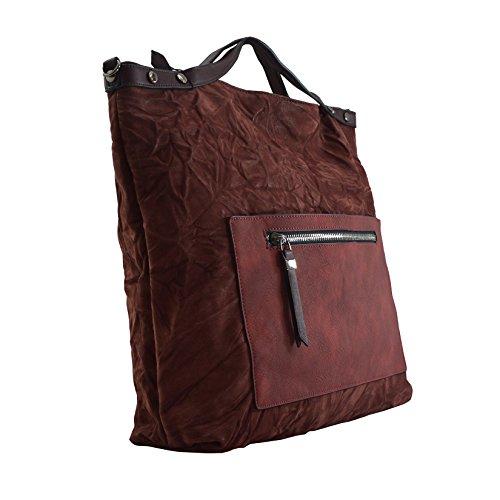 Borsa Shopper Lookat In Pelle Con Tracolla 46x40x11 Cm Bordeaux