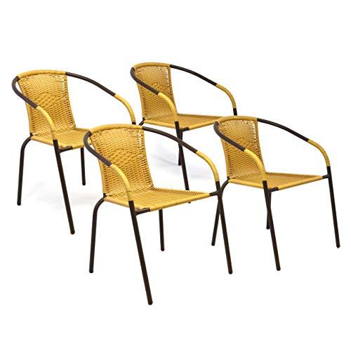 Nexos 4er Set Bistrostuhl Stapelstuhl Balkonstuhl Poly Rattan Gartenstuhl Terrasse Stuhl beige