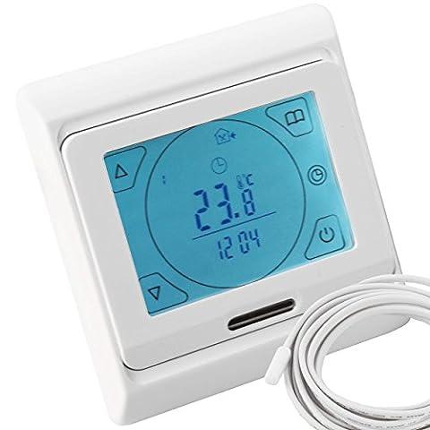 VILSTEIN© Digital Thermostat Temperatur-Regler Raumthermostat für Elektrische Fußbodenheizung Heizsysteme Touchscreen Beleuchtung Programmierbar mit Temperaturfühler Bodenfühler Unterputz weiß