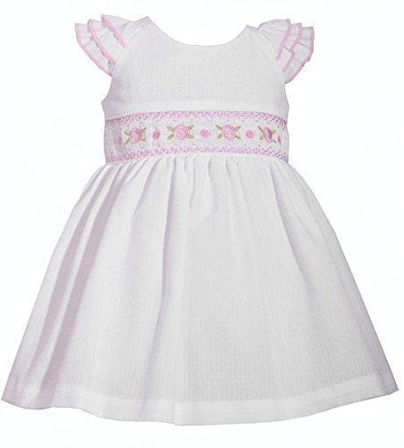 Entzückends Baby Mädchen Kleid in weiß mit Stickerei inkl. Windelhöschen von Bonnie Jean Gr.56,62,68,74,80,86,92,98,104 Größe 92