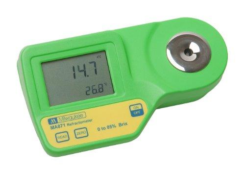 Milwaukee MA871Digitale Zucker Refraktometer mit automatischer Temp, LED gelb, 0bis 85{a67c9010e9fa5b29da67c0b2d0a5e5b4d046a0185aacaa5d5e25b888218fc788} Brix, -0,2{a67c9010e9fa5b29da67c0b2d0a5e5b4d046a0185aacaa5d5e25b888218fc788} Genauigkeit, 0,1{a67c9010e9fa5b29da67c0b2d0a5e5b4d046a0185aacaa5d5e25b888218fc788} Auflösung