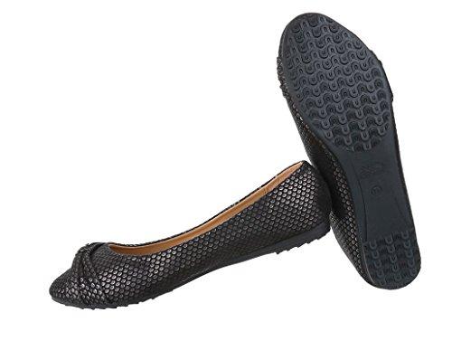 Damen Ballerinas Schuhe Lofers Espadrilles Pumps Modell Nr.1 Schwarz
