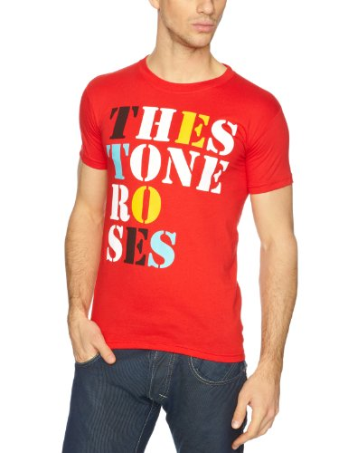 The Stone Roses Men's Font Logo Short Sleeve T-Shirt, Red - S to XL
