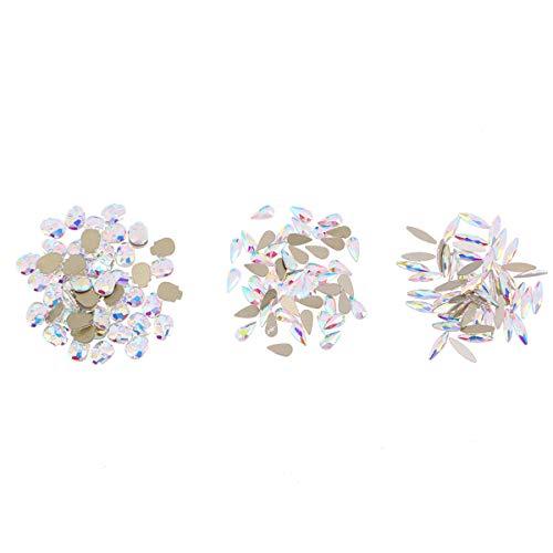 Frcolor Fimo Nail Art strass Dos plat Pierre précieuse de cristal décoration 3d Nail DIY – Lot de 150