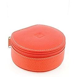 Jeweler leather zip round trip Size: U Color: ORANGE