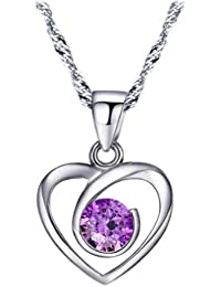Chaomingzhen Sterling Silber 925 lila Runde Zirkonia Herz Anhänger Halskette Damen Kette