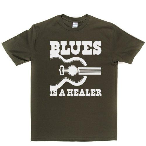 Blues is a Healer Blues Music Genre T-shirt Militärgrün
