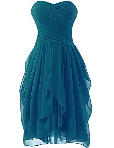 HUINI Abendkleider Kurz Schulterfrei Chiffon Brautjungfernkleider Ballkleider Partykleider Hochzeit Abschlussball Kleider Peacock 36