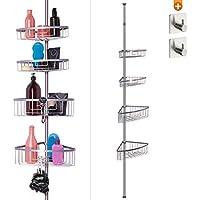 Etagères de douche télescopique sans perçage - 4 paniers - taille réglable de 76 à 280 cm - embouts caoutchoutés - acier poudré avec aspect chromé – En cadeau : 2 crochets auto-adhésifs offerts!