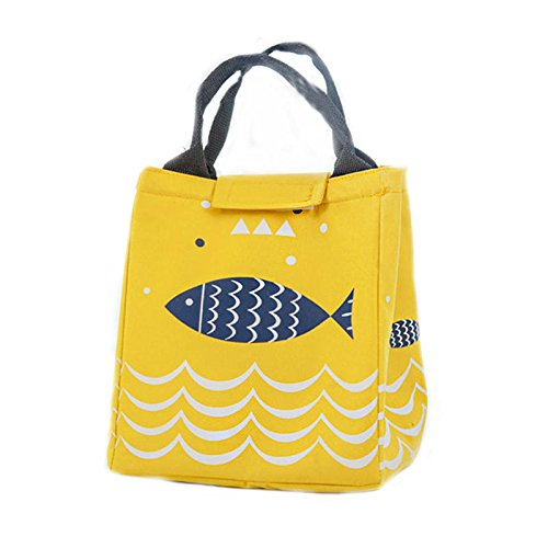 Anddod Fish Pattern Oxford Picnic Bag Aluminum Foil Insulation Package Waterproof Cooler Lunch Box Bag - Yellow Pattern Oxford