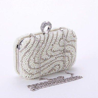 Woman Fashion künstlichen Perlen Oxidation von Zirkon Abend Tasche White