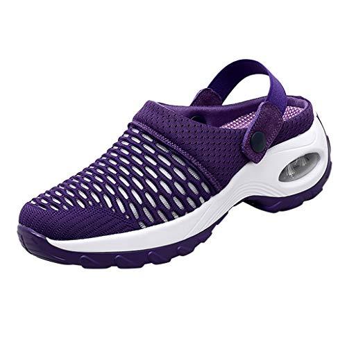 Damen Sandalen Hausschuhe Übergroße Damenschuhe Neue Sets Füße Ultra Light Mesh Schuhe Casual Slipper Schuhe Luftkissen High Heel, Violett, 38 EU
