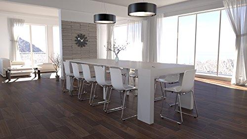 Legno Bianco Frassinato : Eglemtek tavolo legno nobilitato moderno allungabile consolle bianco