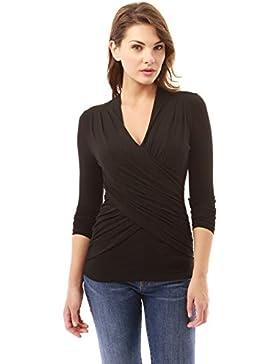PattyBoutik Mujer plisada v cuello del abrigo de imitación blusa acanalada