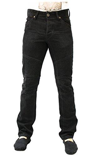 Herren-Mantel-Premium-Jeans-Jeans-Schwarz-Slim Fit-Hose Emporio Seven BIKER Schwarze Falte