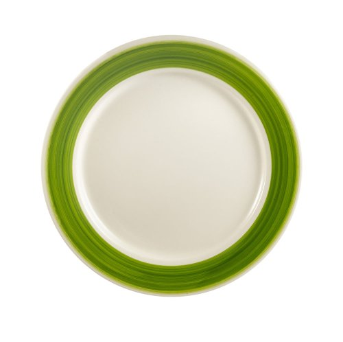 CAC China R-8-GREEN Rainbow Rolled Edge 9-Inch Green Stoneware Round Plate, Box of 24 Rainbow Rolled Edge