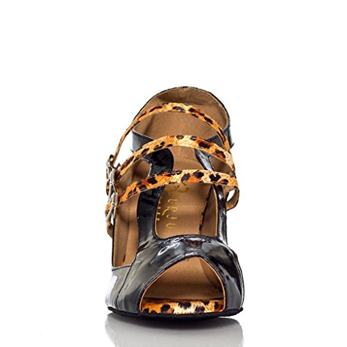 Minitoo – th006 Strappy Satin Matrimonio Ballo Latina taogo Dance Sandals Marrone (Leopardato)