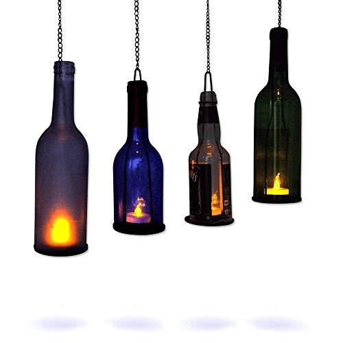 Glas Flasche Cutter, [gen-2Version] acelist Buntglas Werkzeug Kit Glas Wein Jar Ätzen für Heimwerker Glaswaren, Lampen, Vasen, Kerzenhalter-Für Flasche und jar- türkis Holder w/ LED Candle