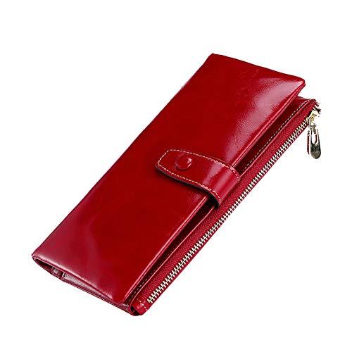 Clutch Wallet Mit Wax Leather Zxks Reißverschlusstasche Oil Damen red Kreditkartentasche Soft Purse Multi Ladies Geldbörse oWCxBrde