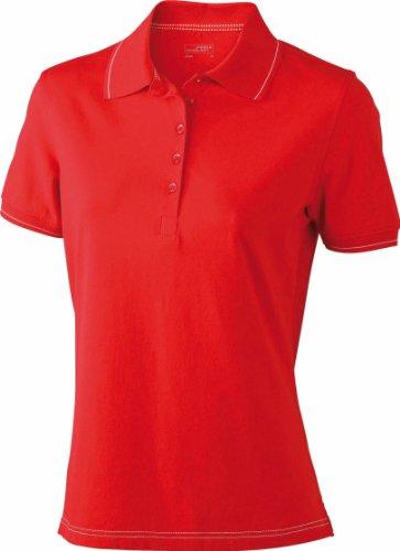 Hochwertiges Damen Poloshirt mit Kontraststreifen Red/White