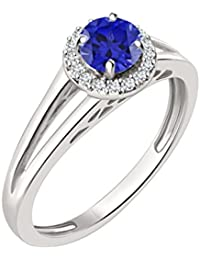 Silvernshine 7mm Blue Sapphire & Sim Diamond Halo Engagement Ring In 14K White Gold Plated