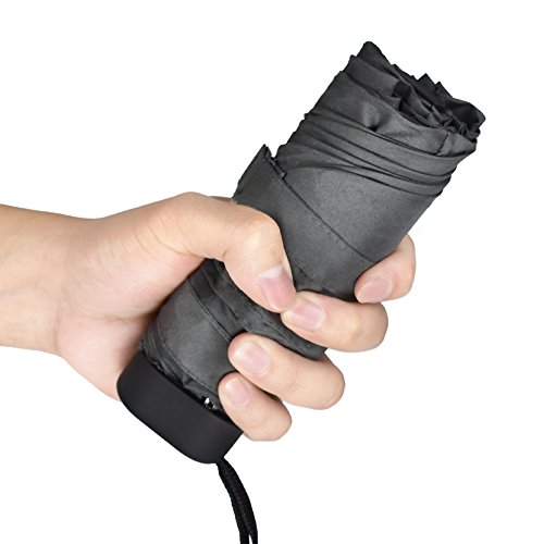 Paraguas Plegable, Mini Paraguas Ultraligero, Ultra Mini, Ultra Protector Doble-Uso Paraguas del Sol/Lluvia, Ultraligero y Conveniente para Viajes. -Gran Regalo (Gris)