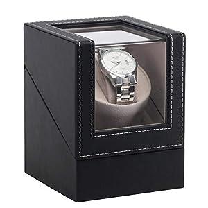 Bclaer72 Automatischer Uhrenbeweger Box, Automatischer Uhrenbeweger PU Leder Rotation Uhren Aufbewahrungsbox 3 Drehmodi Uhrenbeweger Aufbewahrungsbox Organizer Box
