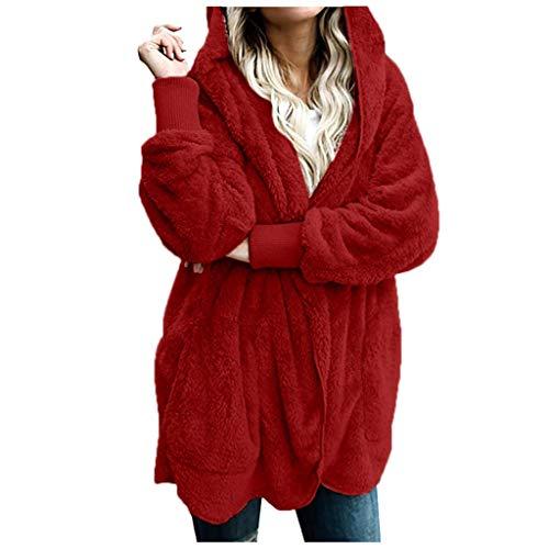 Lazzboy Jacken Damen Frauen Winter Warme Manteljacke Parka Outwear Strickjacke Mantel Oberteile Lang Sweatjacke Pullover Sweatshirt Langarm Winterjacke Warm Artificial(Rot,2XL)