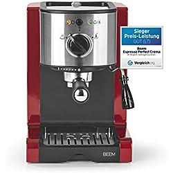 Beem 02051Espresso Perfect | Machine à expresso pour poudre & Pads (1350W, 15Bars) | Expresso, cappuccino, latte macchiato, XXL-Crema, Café Lungo | Rouge Brillant
