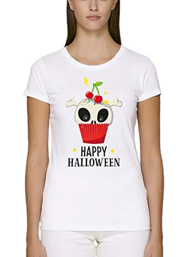 clothinx Damen T-Shirt Unisex Bio und Fair Halloween Cupcake Weiß Größe M
