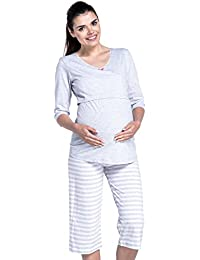 Zeta Ville - Umstands Lagen-Still-Pyjama 3/4 Ärmel Streifenmuster - Damen - 704c