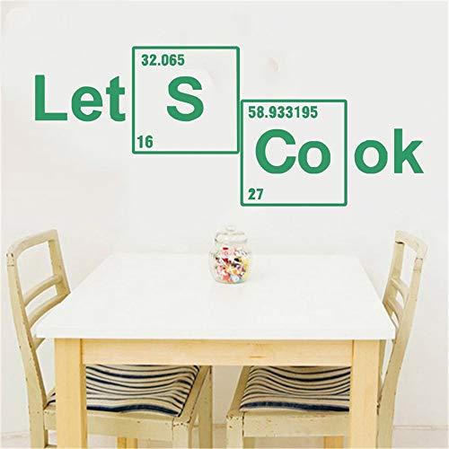 Lassen Sie uns kochen Periodensystem Elemente Wandtattoos Vinyl Aufkleber benutzerdefinierte Aufkleber Vinyl Schriftzug Zitate Wall Art Home Decor Küche 57 * 139cm