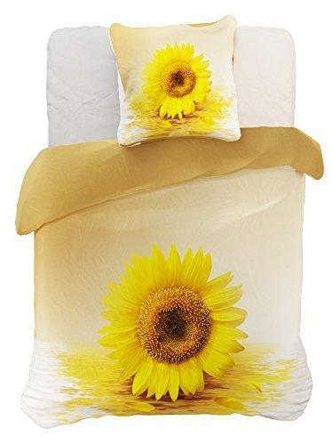 DecoKing 60926 Bettwäsche 155x220 cm mit 1 Kissenbezug 80x80 gelb 3D Microfaser Bettbezug Sonnenblume Blumenmuster Creme Ecru Sun