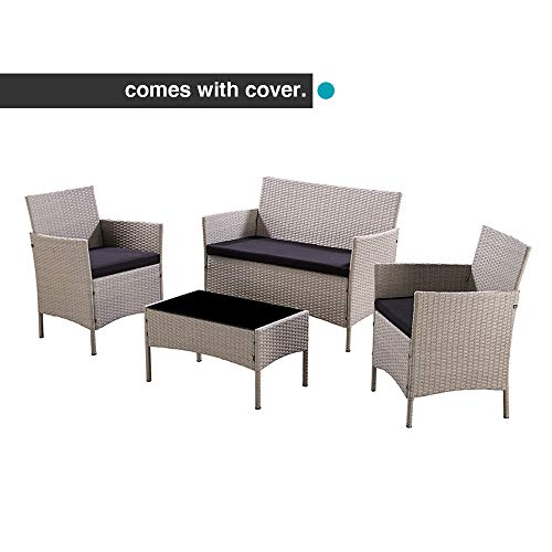 Unmatchable Garden Furniture Set Conservatory Patio Rattan Outdoor Table Chairs Sofa 5 Colour Choices OPTIONAL Green Cover (Light Grey + Cover)
