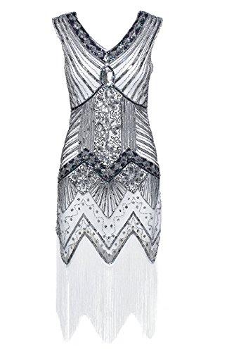 Babeyond Damen Flapper Kleider voller Pailletten Retro 1920er Jahre Stil V-Ausschnitt Great Gatsby Kostüm Kleid (Größe S / UK8-10 / EU36-38, (Kleid Silber Kostüme)