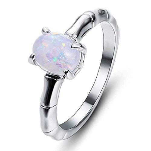 Liquidazione offerte, fittingran anelli a forma di fiore con foglie di vite floreale a forma di fiore fidanzamento fedi nuziali regalo gioielli (6, argento c)