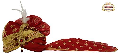 Aman Royal Dulha Collection Men's Sherwani Fabric Groom Pagdi (Maroon and Cream, Free Size)