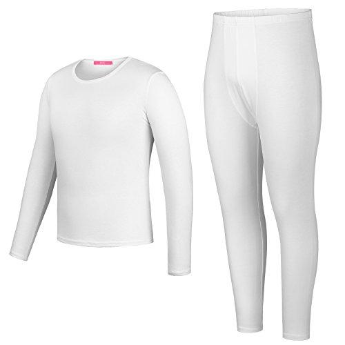 Yulee Mens 2 Pc Solid Plus Size Long John Base Layering Shirt& Pant White, XXL