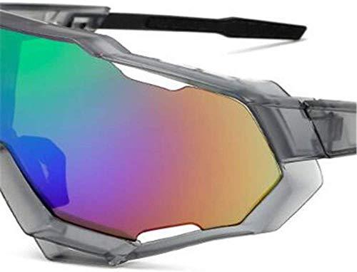 Farbe Objektiv - LRZRJ Sonnenbrillen Sport UV-Schutz Grau Box