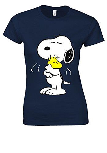 Snoopy PEANUTS Cartoon Happy Cute Navy Women T Shirt Top-XL