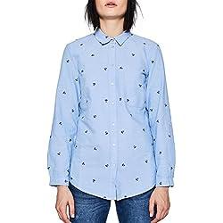 Esprit 018ee1f009, Blusa para Mujer, Azul (Light Blue 440), 44
