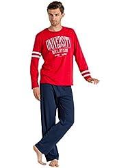 Envie Herren Langer Schlafanzug University 100% Baumwolle Pyjama für Männer