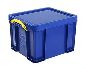 REALLY USE BOX Boîte plastique 35 L opaque bleu, recyclé, couvercle amovible