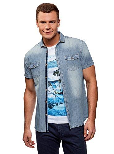 Oodji ultra uomo camicia slim in jeans, blu, 42.5cm / it 50-52 / eu 52-54 / l