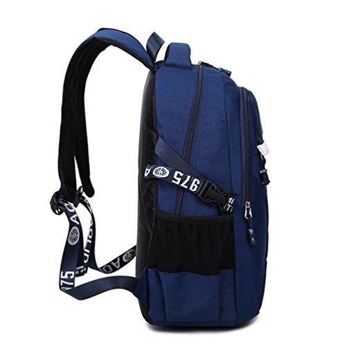 Go Further Neue Art wasserdichte draussen-Reisetasche Schulbuch blauen Rucksack für Männer Blau
